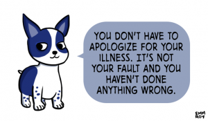 "Image description: A puppy, with the text ""You don't have to apologize for your illness. It's not your fault and you haven't done anything wrong."""