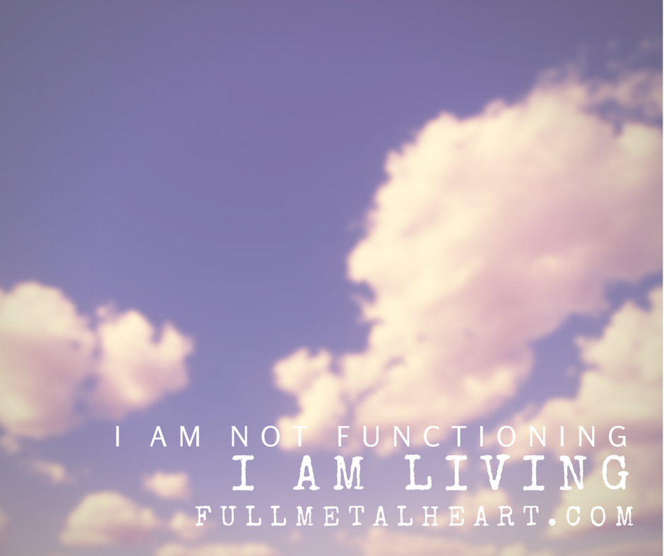 "Image is of a background with clouds. Text reads ""I am not functioning. I am living."""